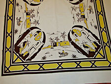 """40's-50's VINTAGE TABLECLOTH MEXICAN SOUTHWEST VIVID COLOR Yellow Brown 49""""x55"""""""