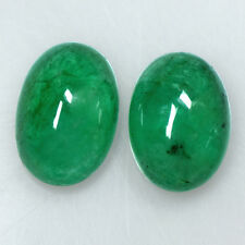 6.73 Cts Natural Fine Emerald Loose Gemstone Oval Cabochon Pair Untreated Zambia