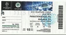 PANATHINAIKOS – MALAGA 2012 – 2013 CHAMPIONS LEAGUE PLAY OFF TICKET STUB - PAO
