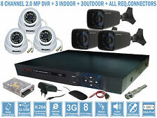 8 CHANNEL 2MP DVR + 3 INDOOR+ 3 OUTDOOR CAMERA + ALL REQ CONNECTORS & ACCESSORY