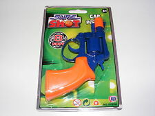 SURE SHOT SMALL BLUE & ORANGE PLASTIC 8 SHOT TOY CAP GUN PISTOL REVOLVER