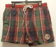 MENS VINTAGE 1980s TOMMY HILFIGER GREEN/RED PLAID SWIM TRUNKS SIZE Large patch