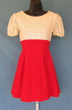 VINTAGE 1950s 60s YOUNG VIEWPOINT DRESS CREAM RED VELVET LACE EMBROIDERY CUTOUTS