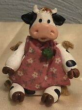 JOINTED COW  IN PINK DRESS FIGURINE Retired!