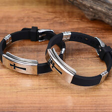 Men Fashion Silver Cross Stainless Steel Black Rubber Bracelet Bangle WristbandE