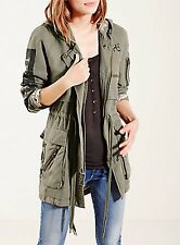 New Women's True Religion Military Parka Jacket, Size SX