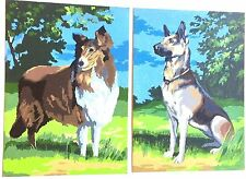 "TWO VINTAGE 1973 PAINT BY NUMBER ART WORKS ""MAN'S BEST FRIEND"" COLLIE & SHEPARD"