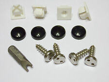 ANTI-THEFT LICENSE PLATE SECURITY SCREWS-STAINLESS - BLACK MIRROR SNAP CAPS