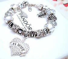 Authentic Pandora Silver Charm Bracelet With Love Wife European Charms.