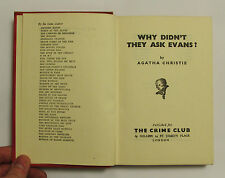 Why Didn't They Ask Evans? by Agatha Christie ~ HB 1950 9th Printing Crime Club