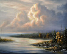 Original Art - Landscape Painting on Canvas, Clouds, Signed by Chuck Black