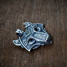 Fashion Mens Retro Stainless Steel Wolf Animal Head Pendant Necklace Chain YK