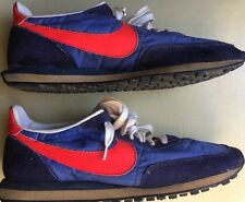 VINTAGE BLUE RED  1970's NIKE RUNNING SHOES S4413 SIZE 9 WAFFLE TRAINER SUEDE