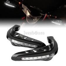 """Black Motorcycle 7/8"""" Handguard With LED Turn Signal Indicator For Honda Yamaha"""