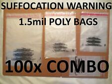 COMBO PACK 100x ULINE Self-Sealing Suffocation Warning Poly Bags 1.5mil 4 Sizes