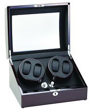 Diplomat Quad 4 + 5 Watch Winder Storage Ebony Finish Black Leatherette Interior