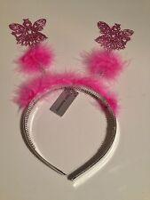 Childrens Pink Fur Glittered Xmas Angel Headband Girls Party, Fancy Dress Party