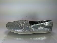 Authentic Silver Glitter Womens Toms Shoe Flats Size 8.5