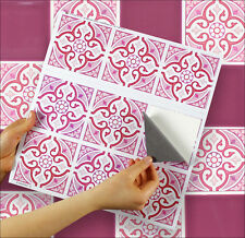 "9 Tile Transfer Stickers 4"" x 4"" MOROCCAN ROSE for Kitchen & Bathroom tiles"
