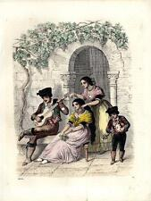 1859 BUCH DER WELT HC LITHOGRAPH Andalusia/Spain costumes, fashion