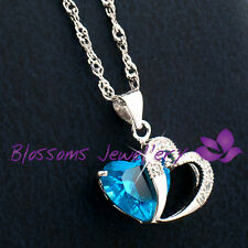 925 Sterling SILVER Topaz YOU are in MY HEART Swarovski Crystal NECKLACE S1040
