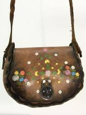 Vintage 70s Hippie Boho Purse TOOLED LEATHER Brown Painted Floral