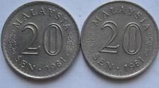Malaysia 20 sen 1981 coin 2 pcs