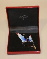 Franz Porcelain Papillon Butterfly Design Sculptured Jewelry Pin Brooch MIB