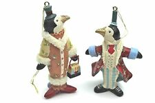GISELA GRAHAM CHRISTMAS FANTASY CIRCUS RESIN PENGUIN COUPLE DECORATION