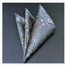 Men's Wedding Party Silk Satin Solid Floral Hanky Pocket Square Handkerchief F01
