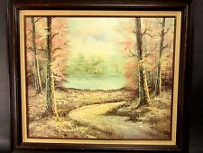 "Vintage Woods Lake Path Landscape Oil Painting Signed ""Kingman"" 30"""