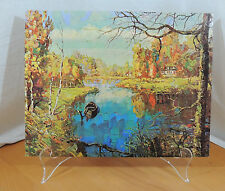 AUTUMN IN THE COUNTRY Mid Century Modern DAC Lithograph on Cardboard