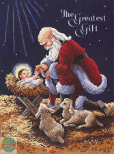 Cross Stitch Kit ~ Janlynn Kneeling Santa Claus w/Baby Jesus #015-0242