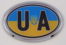 Ukraine  UA Ukrainian Car Chrome Emblem Bumper Sticker flag decal oval