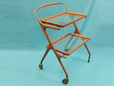 RARE 50's ITALY CESARE LACCA LACQUERED WALNUT REMOVABLE TRAYS BAR CART TROLLEY