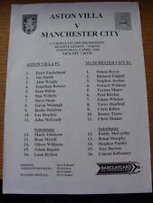 03/04/2002 Aston Villa Reserves v Manchester City Reserves  (Single Sheet)
