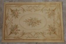 2' X 3' Antique Pastel Vintage Shabby Wool Hand Woven Aubusson Area Rug