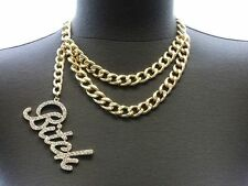 "Bling Rhinestone ""BITCH"" Statement Gold Necklace DOUBLE LINK CHAIN Choker CHUNKY"