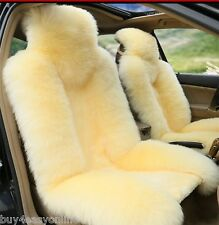 100% Genuine Beige Sheepskin Long Wool Car Seat Covers Cover(Universal Fit) Pair