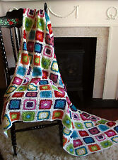 "Hand Crochet Granny Square Bed Cover Blanket Afghan 180cmX150/60"" x70"" cotton"