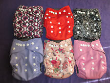 Lot of 6 Boys Charcoal Bamboo Pocket Tagless ALVA cloth double-gusset diapers