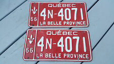 2 Car licence plate 1966 Plaque d'immatriculation Canada Québec 4N-4071