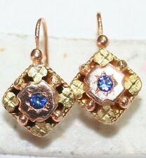 ANTIQUE VICTORIAN FRENCH R Y 18K GOLD SAPPHIRE HAND MADE FLOWER EARRINGS c 1880