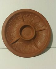 Gourmet TOPF 1980 USA 5 Section Clay Pottery Raised Pics Serving Party Platter