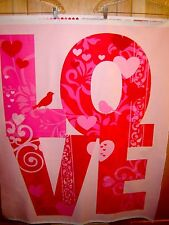 Fabric Kaufman VALENTINE LOVE PANEL Large scale Word birds flowers Pink shades