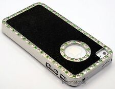 for iphone 4 4s gold black silver case cover w/ green stone & glitter whole sale