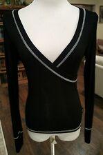 GUESS Black Faux Wrap Top Surplice Long Sleeve Rayon Stretch Sz. M NWOT