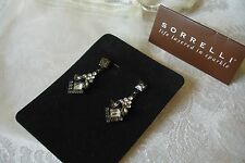 Sorrelli Clear Smoky Grey Crystal Dangle Earrings Swarovski