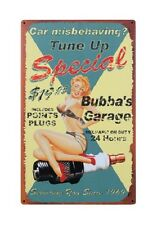 """16"""" X 10"""" TUNE UP SPECIAL BUBBA'S GARAGE PIN UP GIRL METAL SIGN NEW"""