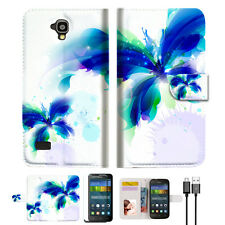 Blue Butterfly Wallet Case Cover For HUAWEI Y5 Y560-- A009
